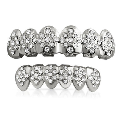 Silver Grillz Set Diamond ice Style Teeth Set