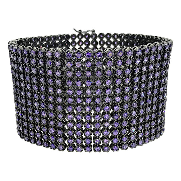 CZ 12 Row Purple Stones Bracelet