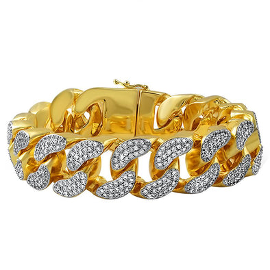 22MM Thick CZ Cuban Gold Bracelet