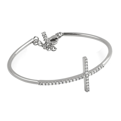 CZ Cross Womens Bangle Rhodium