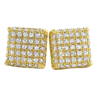 Large Cube Micro Pave CZ Bling Bling Earrings