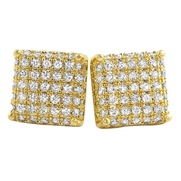 3D Square Gold CZ Earrings