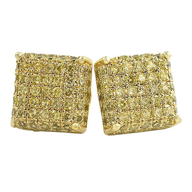 3D Square Lemonade CZ Earrings