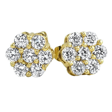 Big Gold CZ Cluster Earrings