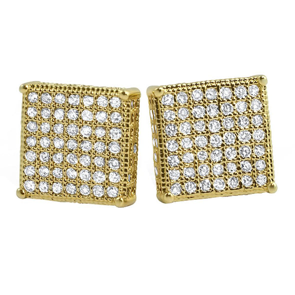 3D Box XL Gold CZ Micro Pave Earrings