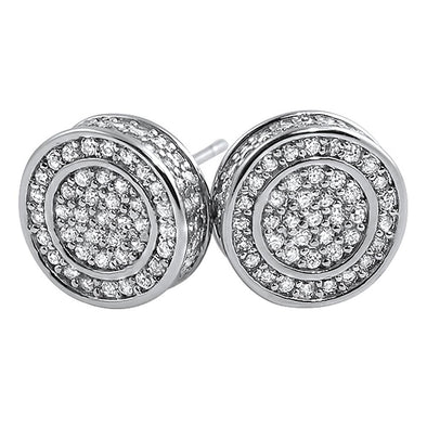 3D Circle Large CZ Iced Out Earrings