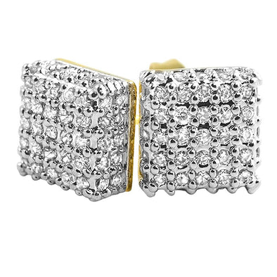 Large 3D Box Gold CZ Earrings
