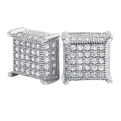 3D Box Micropave CZ Earrings
