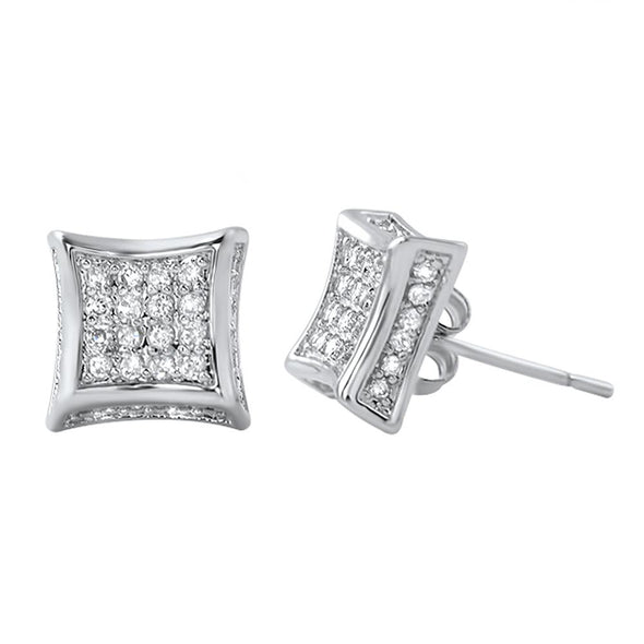 Earrings Brass CZ Rhodium