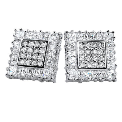 Baguettes  Princess Box CZ Iced Out Earrings
