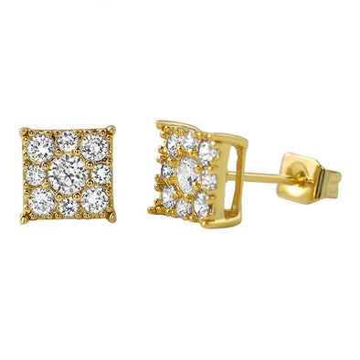 Square Cluster Micro Pave CZ Bling Bling Earrings