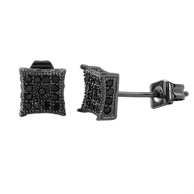 3D Box Kite S Black Micro Pave CZ Earrings