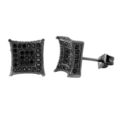 3D Box Kite L Black CZ Micro Pave Earrings