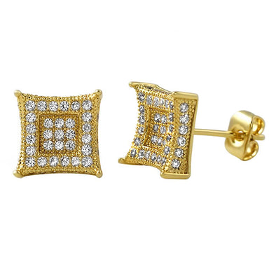 3D Box Kite L Gold Micro Pave Earrings