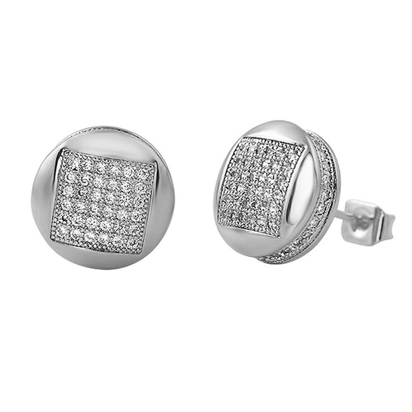 3D Square in Circle Rhodium CZ Earrings