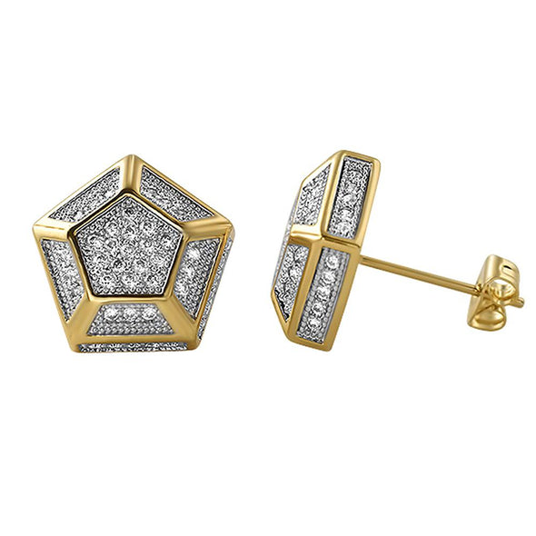 3D Pentagon Gold CZ Earrings