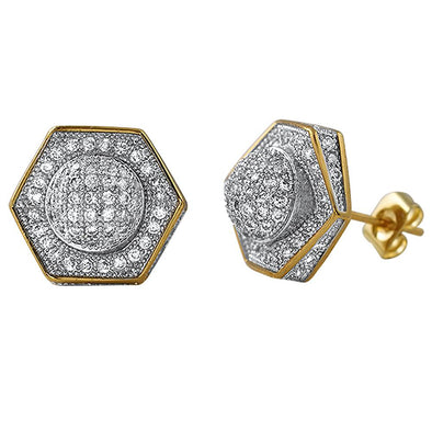 3D Domed Hexagon Gold CZ Hip Hop Earrings