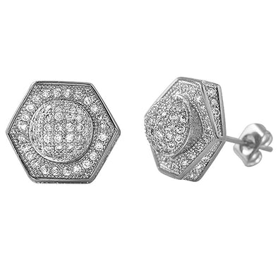 3D Domed Hexagon Rhodium CZ Hip Hop Earrings