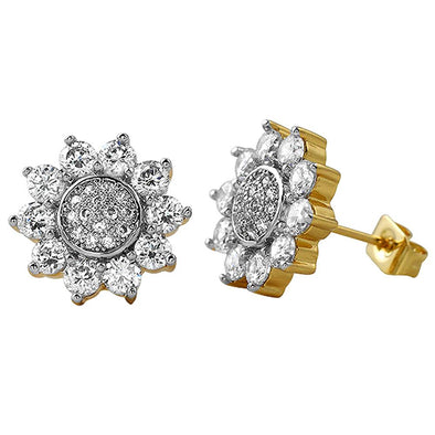 Sun Shine Gold CZ Earrings
