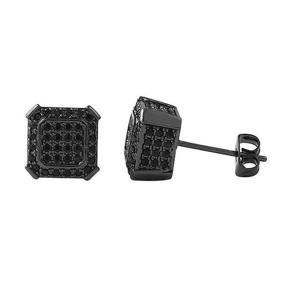 Black Ballers CZ Micro Pave Hip Hop Earrings