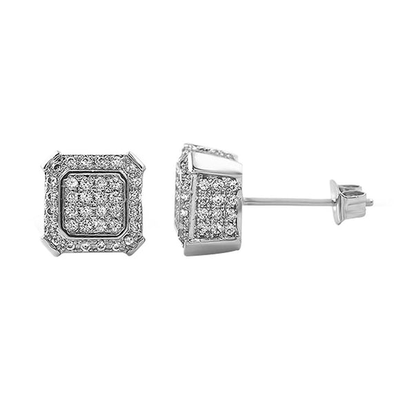 Ballers Hip Hop Rhodium CZ Earrings