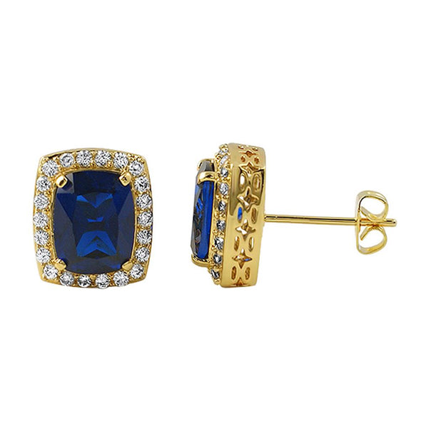 Lab Sapphire Centerstone Gold Earrings