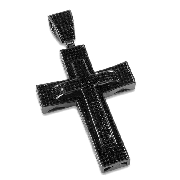 Double Decker CZ Cross Black Micro Pave Pendant