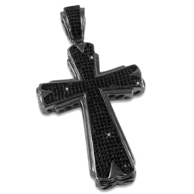 Hot Black Cross CZ Micro Pave Pendant