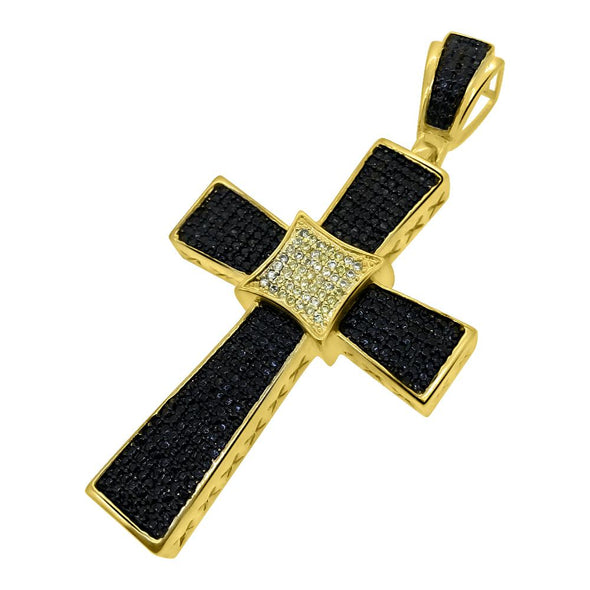 Kite Black and Yellow CZ Gold Pendant