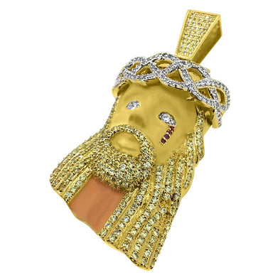 Painted Face Jesus Piece Large Gold CZ Pendant
