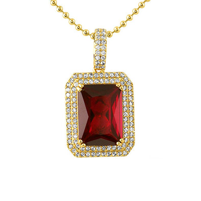 Double CZ Lab Ruby Gem Pendant