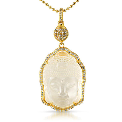 Gold Buddha Carved Crystal Pendant w/ Disco Ball