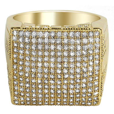Huge Square CZ Mens Micro Pave Bling Bling Ring