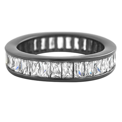 Baguette Eternity White CZ Diamond Ring Black