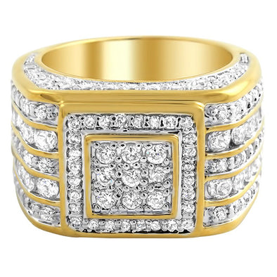 Square Cluster CZ Mens Micro Pave Bling Bling Ring