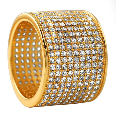 9 Row Eternity Gold CZ  Ring