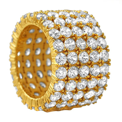 5 Row CZ Eternity Gold Ring