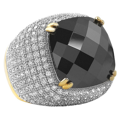 Rose Cut Imperial CZ Mens Micro Pave Bling Bling Ring