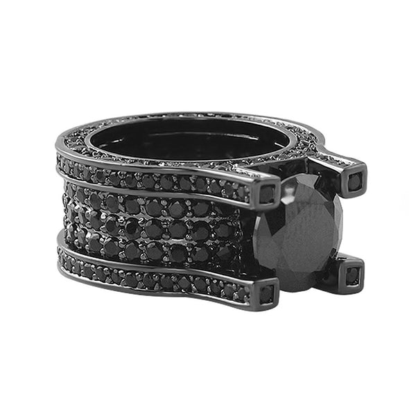 Baller Solitaire Eternity Black Ring