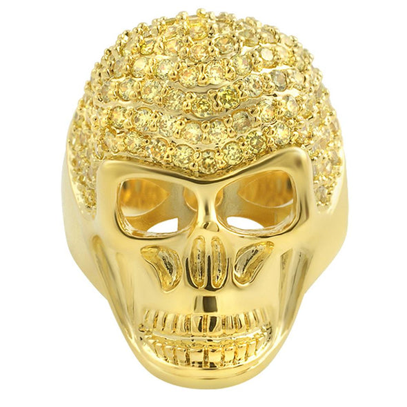 3D Skull Lemonade CZ Mens Ring