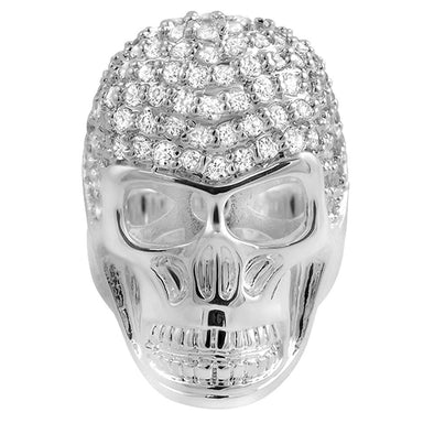 3D Skull CZ Rhodium Mens Ring