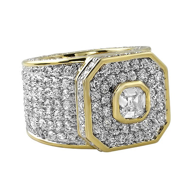 Asscher Cut CZ Gold Ring