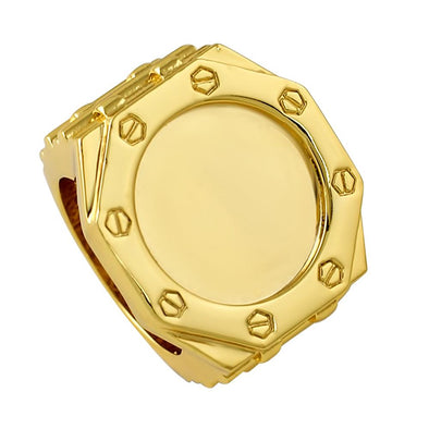 8 Sided Face Custom Gold Designer Ring