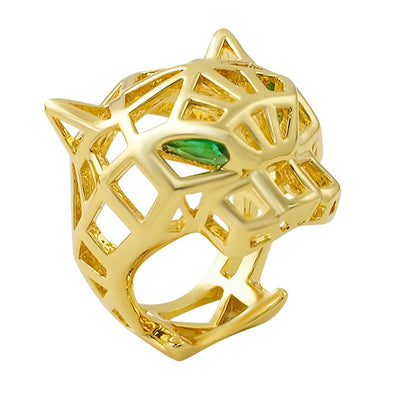 3D Wired Tiger Face Gold Ring