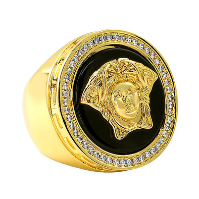 Medusa with Onyx CZ Mens Hip Hop Ring