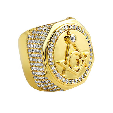 Large Masonic CZ Gold Plated Mens Ring