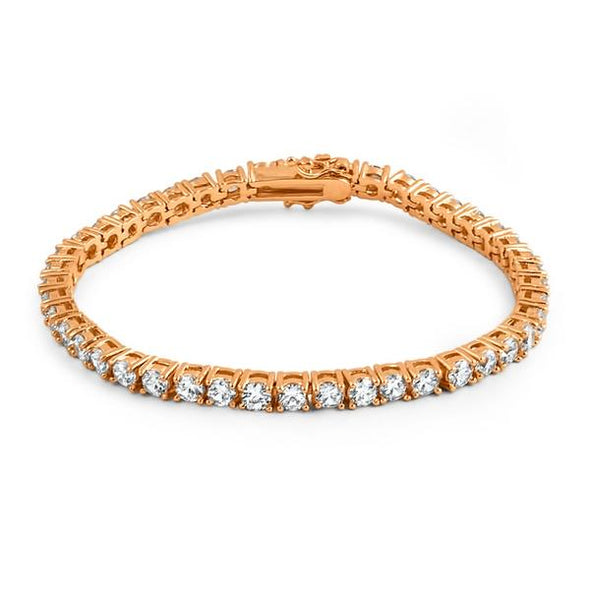 4MM CZ 1 Row Bling Tennis Bracelet Rose Gold