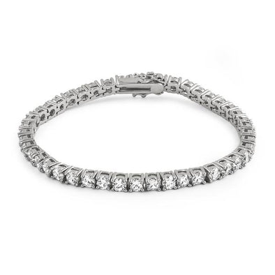 4MM CZ 1 Row Bling Tennis Bracelet Rhodium