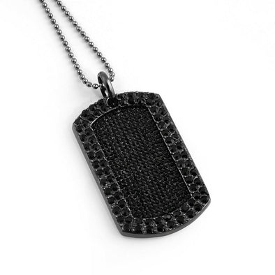 Full Stone Dog Tag and Chain Black