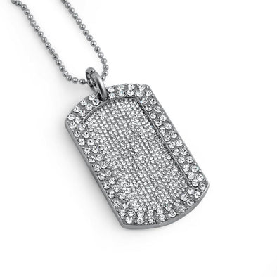 Full Stone Dog Tag and Chain Rhodium